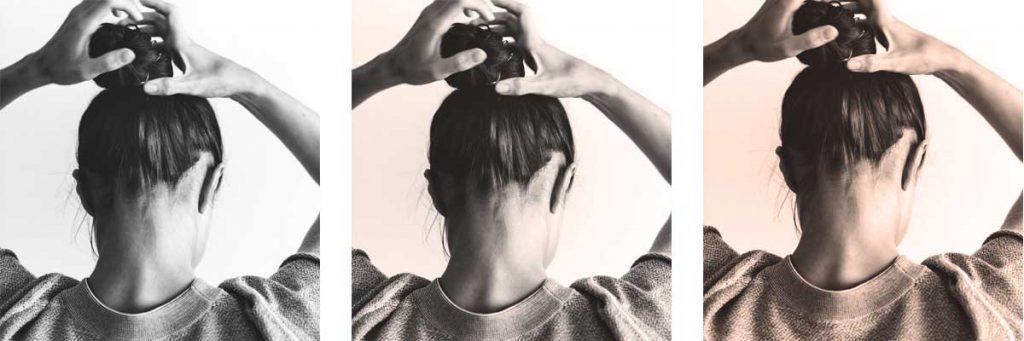Woman fixing hair